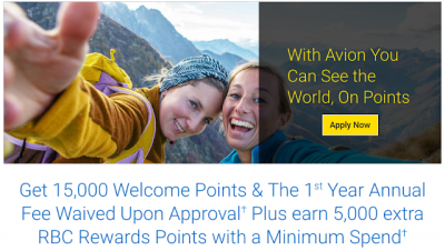 Reminder: The RBC Visa Infinite Avion offers up to 20,000 bonus RBC Rewards points and is first year free right now
