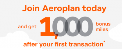 Earn 1,000 Bonus Aeroplan Miles when you join the program & complete your first transaction