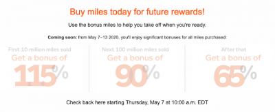 Get ready! Aeroplan's first buy miles promotion to offer up to a 115% bonus where you buy miles for as little as 1.4 cents - launches on May 7