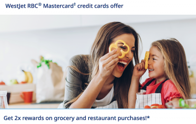 WestJet RBC Mastercards will earn 2x rewards on grocery and restaurant purchases until August 31