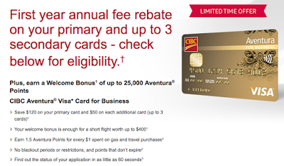February 24 Update: CIBC Aventura For Business 1st year free offer, up to 10,000 bonus miles on Jet Airways Toronto flights & more + MORE Feb 24th