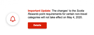 Great News - Scotiabank postpones planned increase to select non-travel point redemption options