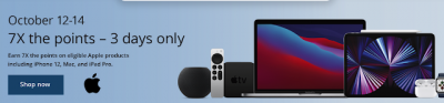 Earn 7x Aeroplan Points for Apple Store purchases made by October 14