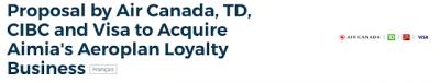 Air Canada with TD, CIBC and Visa make a bid to buy Aeroplan back