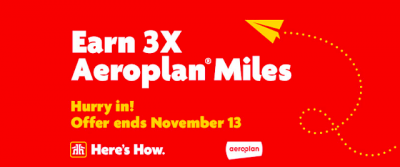 November 8 Update: Earn 3x Aeroplan Miles at Home Hardware, 5,000 Bonus Marriott Rewards points in Waterloo and more + MORE Nov 9th