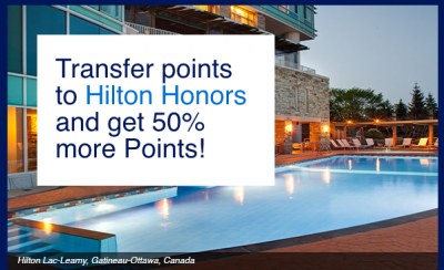 Transfer American Express Membership Rewards points to Hilton Honors and receive 50% bonus points