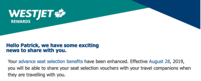 August 30 Update: WestJet Rewards Seat Selection Vouchers can be used for travel companions & a targeted Air Canada Aeroplan flight bonus
