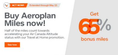 65% bonus for buying Aeroplan miles extended to May 15
