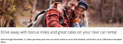 Earn up to 3,000 Bonus Aeroplan Miles on Avis rentals until December 15