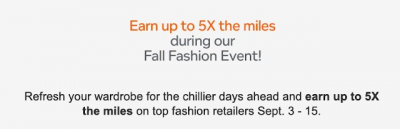 September 4 Update: Up to 5x Aeroplan Miles with the eStore Fall Fashion Event, 55,000 bonus PC Optimum points for online purchases & a WestJet seat sale!