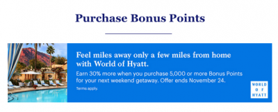 30% bonus when you buy World of Hyatt points until November 24 + MORE Oct 20th
