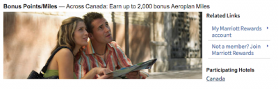 Earn up to 2,000 Bonus Aeroplan Miles for stays at Marriott Hotels in Canada until the end of June