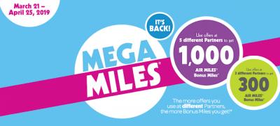 AIR MILES Mega Miles Event: Earn up to 1,000 Bonus Reward Miles for shopping at multiple sponsors