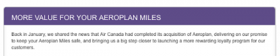 Aeroplan update from Air Canada - fewer miles for Market Fare Flight Rewards and more