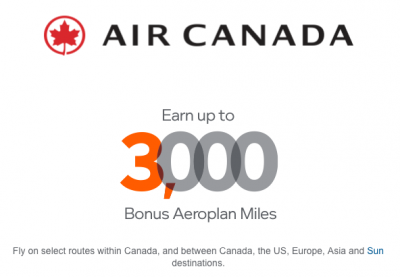 Earn up to 3,000 Bonus Aeroplan miles on select Air Canada flights Worldwide