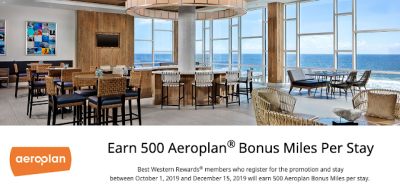 Earn 500 Bonus Aeroplan Miles for Best Western stays this fall