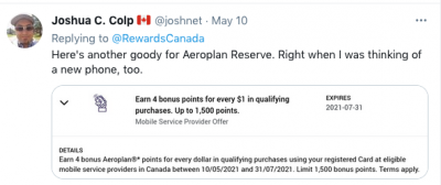 May 12 Update: Amex Aeroplan Reserve Card mobile service provider bonus points & Platinum Card replacement annual travel credits are posting + MORE May 12th