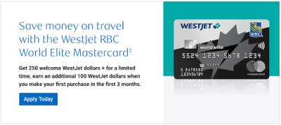 Great new welcome bonus of 350 WestJet dollars on the WestJet RBC World Elite Mastercard