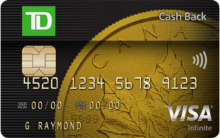 TD Cash Back Visa Infinite* Card now offering 10% cash back on all purchases with first year no annual fee for new cardholders