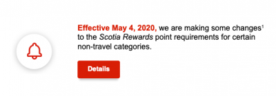Scotiabank raising points requirements for some non-travel redemptions including Points for Credit on May 4