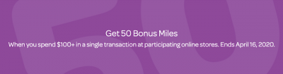 50 Bonus AIR MILES when you spend $100 or more via AIR MILES Shops