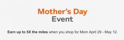 Earn up to 5x Aeroplan Miles for your online shopping for Mother's Day via the Aeroplan eStore