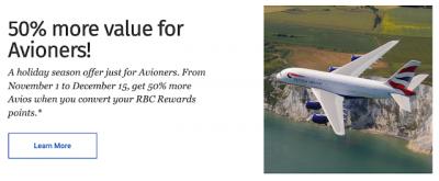 Coveted 50% Transfer Bonus for RBC Rewards (Avion only) to British Airways Executive Club is back until Dec 15, 19
