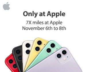 Starting tomorrow – Earn 7x Aeroplan Miles for Apple store purchases via the Aeroplan eStore + MORE Nov 6th