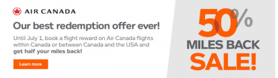 Huge Aeroplan promotion - Receive 50% of your miles back on award flights within Canada or between Canada and the U.S.