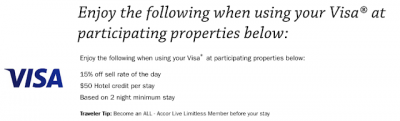 Fairmont Hotels Visa Offer - 15% off + $50 hotel credit for stays of 2+ nights in North America