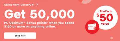 January 6 Update: Spend $150+ online with Shoppers Drug Mart and get 50,000 bonus PC Optimum points & Sonesta buys Red Lion Hotels