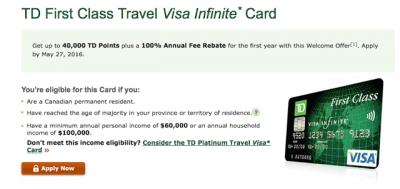 td first class visa points