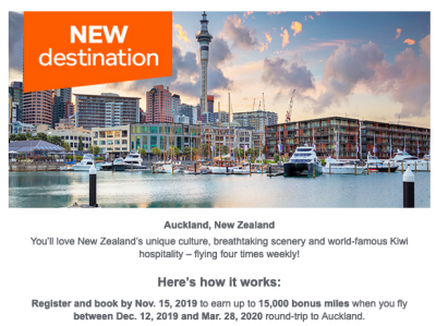 October 17 Update: Targeted Aeroplan bonus offer for Auckland flights, 1,000 bonus points at Delta Toronto extended and fly Avianca to Latin America from $629