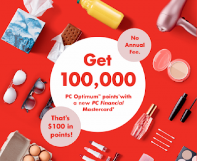 New welcome offer of 100,000 PC Optimum points on PC Financial Credit Cards