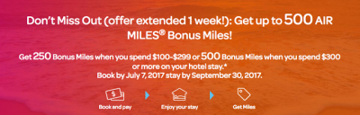 Up to 500 Bonus AIR MILES when you book a hotel stay via the AIR MILES Travel Hub + MORE Jun 21st