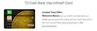 September 20 Update: 9% cash back returns on TD Cash Back Visa Infiinte, great bonus for flying on Lufthansa, Swiss or Austrian + more! + MORE Sep 20th