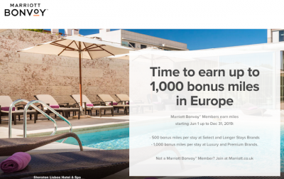 June 13 Update: Earn up to 1,000 bonus miles or Avios with 9 airlines for Marriott stays in Europe & 8 new bonus offers Jun 14th