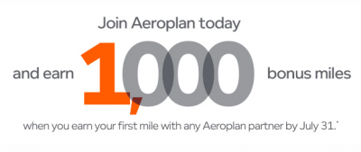 Earn 1,000 Bonus Aeroplan Miles when you join the program & complete your first mileage earning transaction by July 31