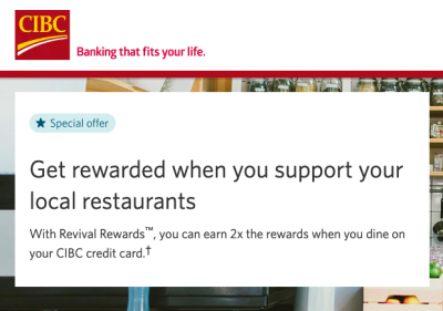 CIBC offering double Aventura points, Aeroplan Miles and Cash Back on dine in, take out and delivery purchases