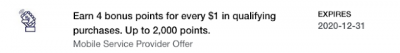 New Amex Offer for Mobile Service Providers - 4 Bonus Membership Rewards Points per dollar spent