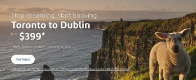 September 16 Update: Toronto to Dublin flights for under $400 round trip, Marriott flash sale offering 25% off stays in Canada & Rewards Canada site updates Sep 16th