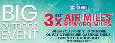 May 25 Update: 3x AIR MILES on select outdoor items at Lowe's and Cathay Pacific YVR-JFK seat sale May 26th