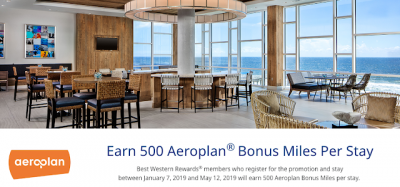 Earn 500 Bonus Aeroplan Miles for stays at Best Western Hotels until May 12