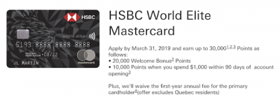 March 7 Update: HSBC World Elite MC first year free + 30K points offer, a new king of programs for crediting car rentals to & Air France flash sale Canada to Paris from $735 Mar 8th