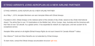 Etihad Airways to join Aeroplan as an airline mileage earning partner
