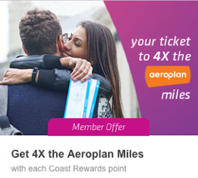 Great transfer bonus from Coast Rewards to Aeroplan – earn up to 300,000 Bonus Aeroplan Miles! + MORE Sep 17th