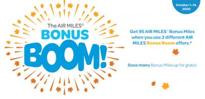 AIR MILES Bonus Boom is now live - earn bonus miles with participating partners + 95 bonus miles when you collect three different Bonus Boom offers