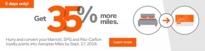 Earn 35% Bonus Aeroplan Miles when converting points from Marriott/SPG between Sep 13-18