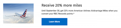 RBC Avion Cardholders: 20% Bonus Miles when you convert RBC Rewards Points to American AAdvantage