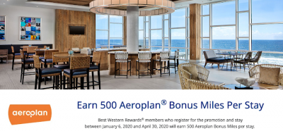 Earn 500 Bonus Aeroplan Miles on all Best Western stays until April 30